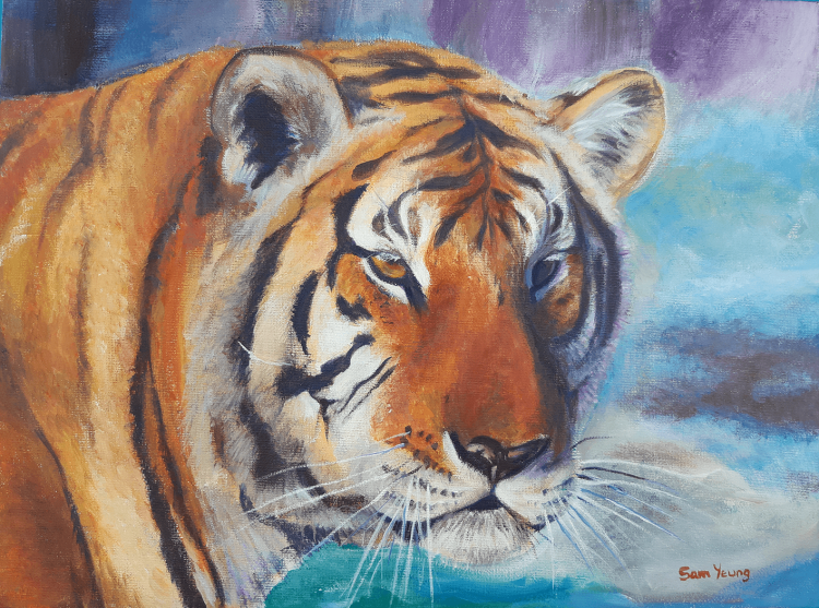 An acrylic painting of a tiger's face.