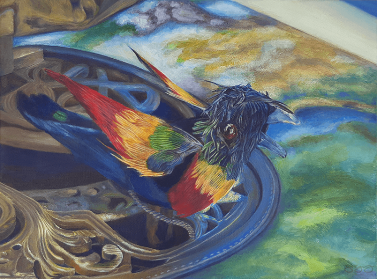 Acrylic painting of a music box bird