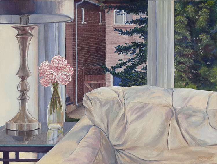 An acrylic painting of a window view of the backyard, past a couch, lamp, flowers, and glass table.